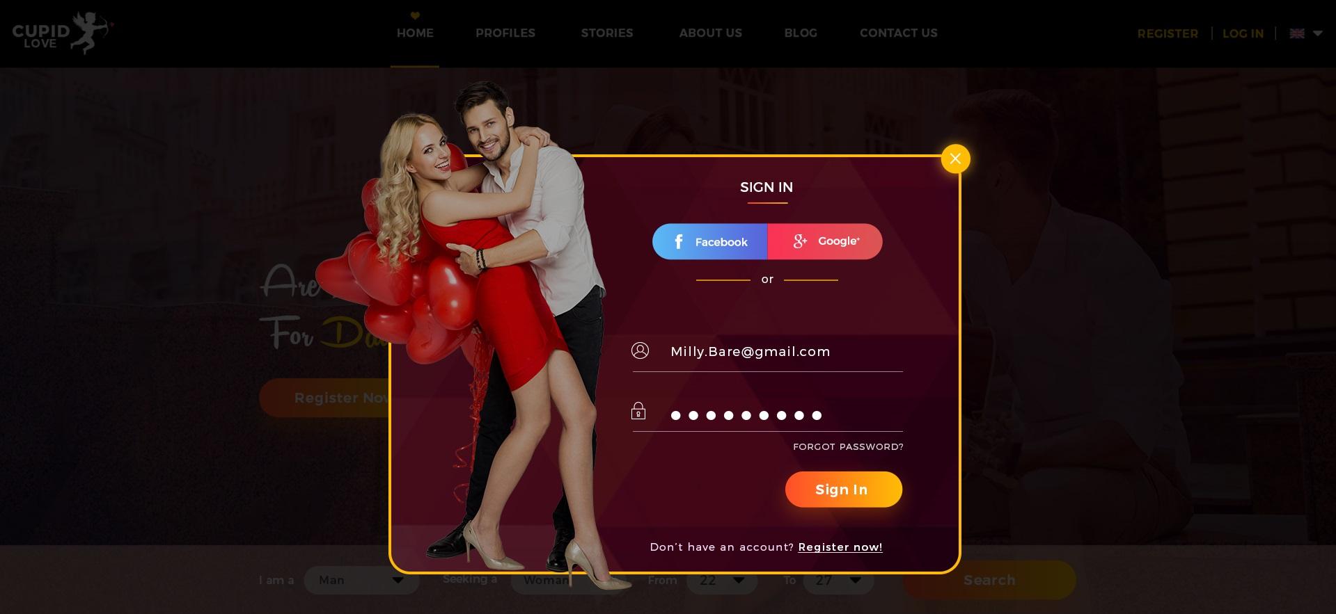 dating website design