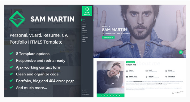 exclusive sam martin personal vcard resume html template